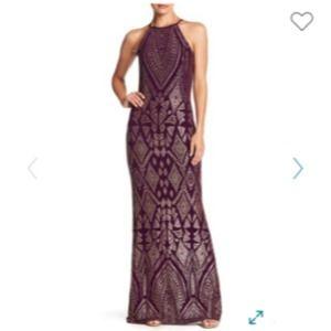 NEW Jump Apparel gold glitter halter gown purple